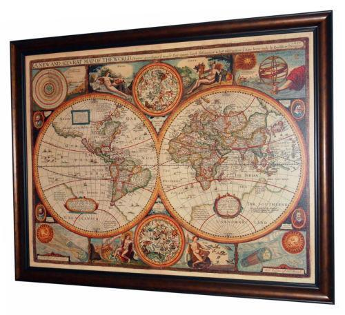 Old antique world map single canvas wall art framed print vintage vintage macmillan school map of the world physical ebay gumiabroncs Images