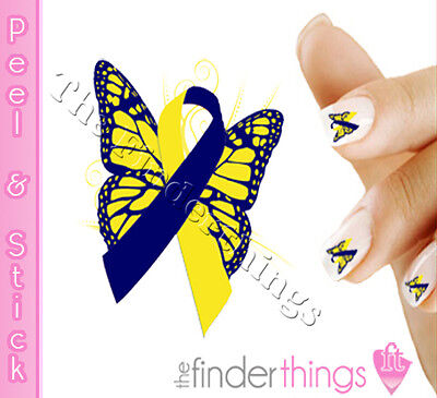 - Down Syndrome Awareness Ribbon Butterfly Nail Decal Sticker BFY164