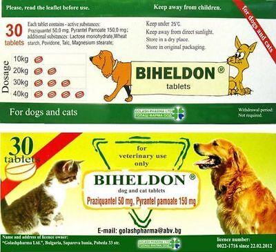 BIHELDON CAT DOG DEWORMER WORMER 30 DOSES BROAD SPRECTRUM 100% SAFE FAST SHIP