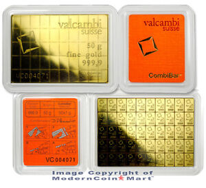 Valcambi Suisse 50 Gram Gold 99.99% Combi Bar Individual Mini Bars SKU27930