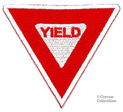 YIELD SIGN embroidered PATCH TRAFFIC STREET ROAD SIGN iron-on applique RED new