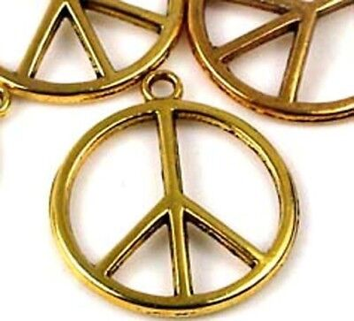 6 Antique Gold Pewter Peace Sign Filigree Charm Pendant 24mm  Antique Gold Peace Sign