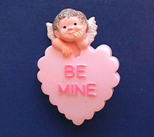 Hallmark PIN Valentines Vintage ANGEL HEART CANDY Be Mine Pink Holiday Brooch