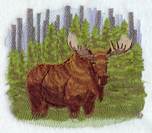 Large Embroidered Zippered Tote - Moose D9920