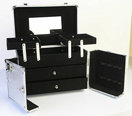 JUMBL™ Cosmetic/Jewelry Train Case - Makeup Organizer with Mirror