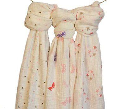 MaliWear Swaddle wrap Muslin Swaddle Blankets GIRLS SET OF 3 IN GIFT PERFECT BOX
