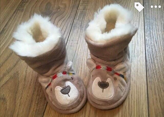 Little White Company baby (6-12 months) fur lined bear slippers | in East  Kilbride, Glasgow | Gumtree