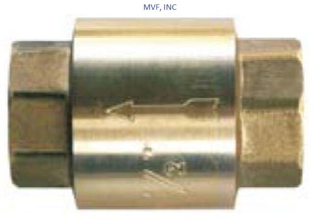 """1/2"""" NPT IN-LINE CHECK VALVE BRASS SPRING LOADED INLINE 200 psi NEW SLCV050"""