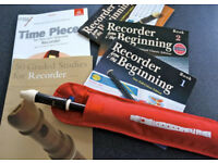 Descant recorder, case and 5 music books