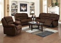 RECLINING SOFA AND LOVESEAT, SALE $999.99 AT YVONNE'S FURNITURE