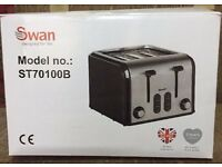 Swan Retro Stainless & Black 4 Slice Toaster ST70100B Wide Slots NEW IN BOX