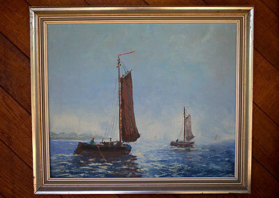 Red Sail fishing boat. Mid Century nautical marine seascape oil painting SIGNED