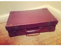 Two Vintage Brown Leather Suitcases