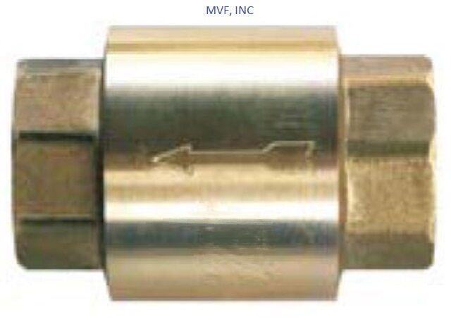 """1"""" NPT IN-LINE CHECK VALVE BRASS SPRING LOADED INLINE 200 psi NEW SLCV100"""