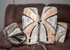 27 inch RBK Goalie Pads with matching Trapper and Blocker