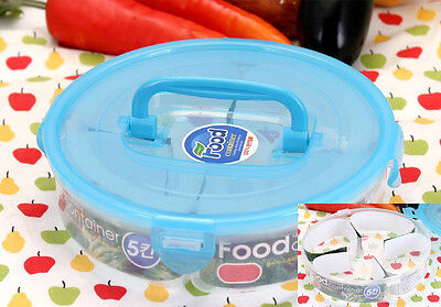Round Divided Lunch Container Airtight Food Storage Box Bento 5-Splitter Handle