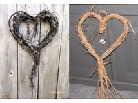 Shabby Chic Willow/Wicker Loveheart,Hanging Decoration