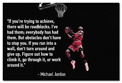 Michael Jordan Basketball Motivational Quotes Art Silk Poster 13X20 24X36