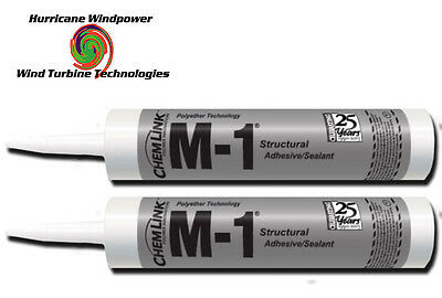 2 TUBES Chemlink M1 BLACK Structural Sealant - 10.1 oz Cartridge - ChemLink M-1