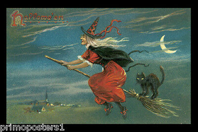 HALLOWEEN WITCH BLACK CAT IN FLYING BROOM CRESCENT MOON VINTAGE POSTER REPRO (Cat In Halloween)