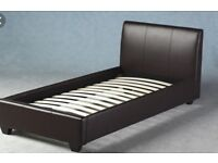 Single leather bed with sleep easy mattress