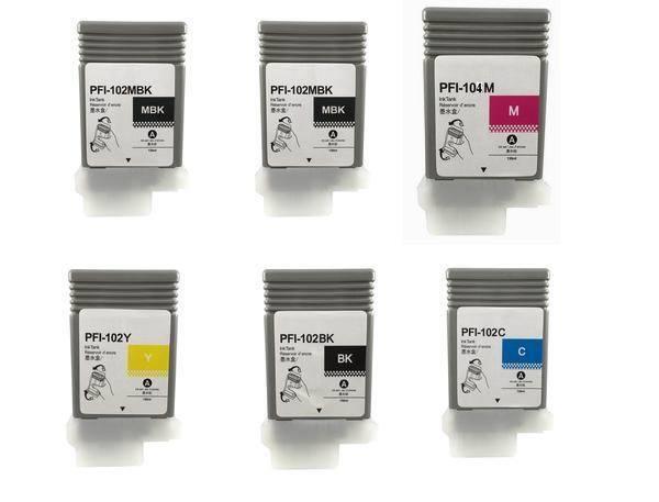 6 Compatible Canon Ipf 650 655 750 755 760 765 Pfi-102 Pf...