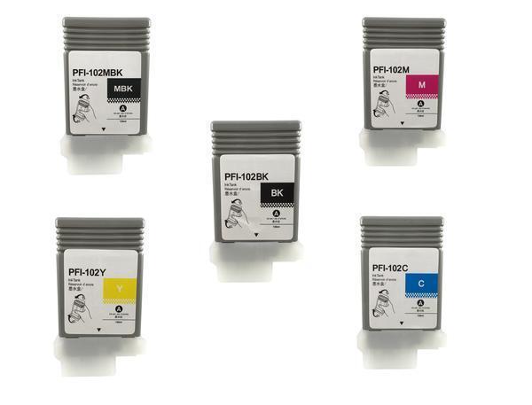 5 Compatible Canon Ipf 650 655 750 755 760 765 Pfi-102 Pf...