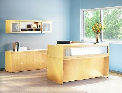 Mayline Aberdeen Reversible L-shape Maple Reception Desk W Textured Glass
