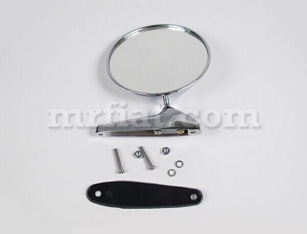 Alfa Romeo Spider Chrome Side View Round Mirror W/ Emblem New