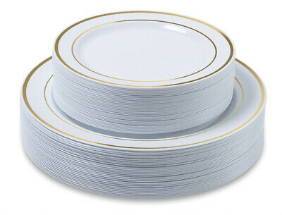 Premium Party Disposable Plastic Plates 60-set Gold Trim - Bulk- ACK - Gold Plastic Plates Bulk