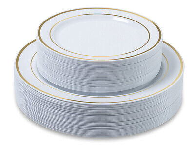 Premium Party Disposable Plastic Plates 60-set Gold Trim - Bulk- ACK - White Plastic Plates