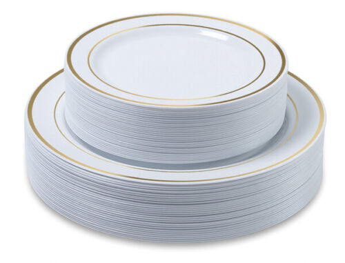 Premium Party Disposable Plastic Plates 60-set Gold Trim - Bulk- ACK