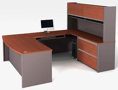 Bestar Connexion U Shape Office Desk W Oversized Pedestal In Bordeaux