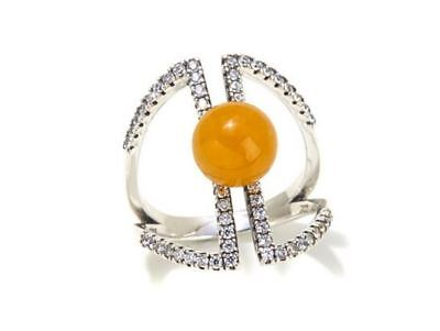 Jade of Yesteryear Yellow jade and CZ Sterling Silver Negative Space Pave Ring 8