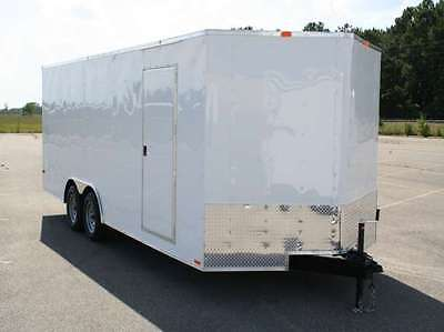 Enclosed car hauler  tube frame 8.5x20 v nose, white, black race ready optional