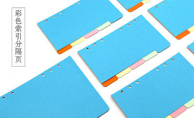 5 Sheets1 Set A69.5x17.2cm 6 Holes Candy Color Colorful Divider Separate Page