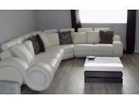 White large leather sofa