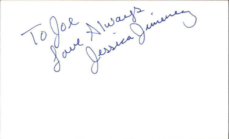 "JESSICA JIMENEZ GUIDING LIGHT Signed 3""x5"" Index Card"