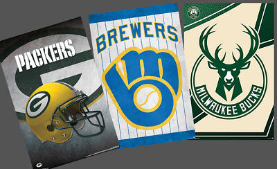 (MILWAUKEE SPORTS 3-POSTER COMBO - Brewers, Bucks, Packers Team Logo POSTERS)