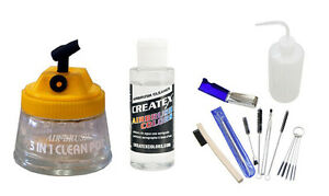 11-Piece-Deluxe-Airbrush-Cleaning-Kit-Pot-Holder-Brushes-Createx-Bottle