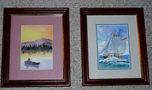 "2 wood framed pictures by ""Millicent"" ... as shown"