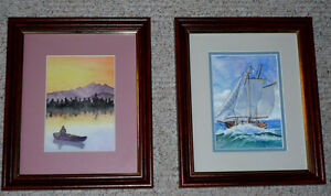 "2 wood framed pictures by ""Milicent"" ... as shown ..."
