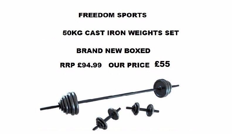 CAST IRON Dumbbell Set - 50 Kg BRAND NEW BOXED RRP £94.99