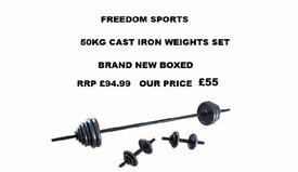 CAST IRON Dumbbell Set - 50 Kg BRAND NEW BOXED RRP £94.99