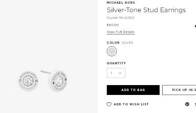 Michael Kors Silver Tone Stud Earrings With Dust Bag