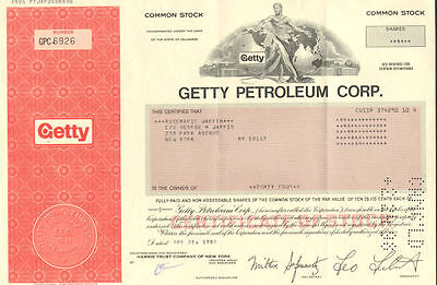 J  Paul Getty Petroleum   Oil Stock Certificate Share
