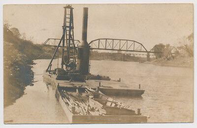 RPPC Steam Pile Driver Boat Bridge River Transportation Richmond Real Photo