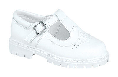 Vegace Girls Children White Leather Communion Church Buckle Strap Casual Shoe