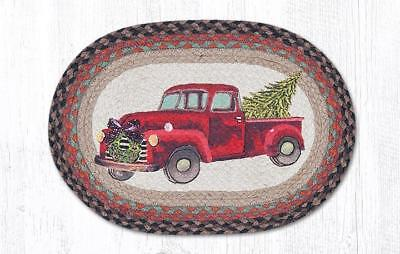 """RED CHRISTMAS TRUCK 100% Natural Braided Jute Placemat, 13"""" x 19"""", by Earth Rugs"""