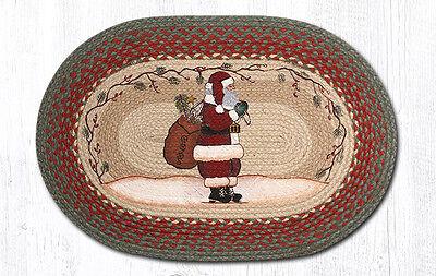 SANTA Christmas 100% Natural Braided Jute Rug, 20